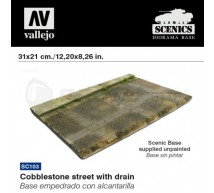 Vallejo - Cobblestone street & drain 31x21 cm
