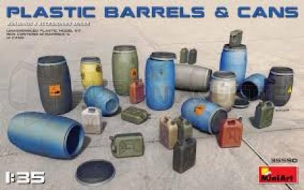 Miniart - Modern plasitc barrels & cans